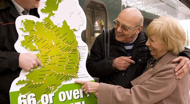 Pensioners aged over 66 visiting Ireland are entitled to free rail passes
