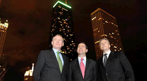 Looking up: Martin McGuinness, US Economic Envoy Declan Kelly and Peter Robinson in Chicago earlier this week