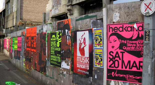 Fly-posters create an environmental eyesore on the Lisburn Road (photo by Nicci Gregg)