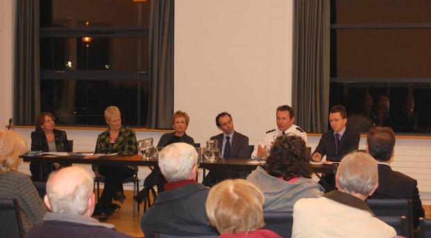 Chief Inspector Trevor O'Neill and the panel of speakers at St Brides Hall