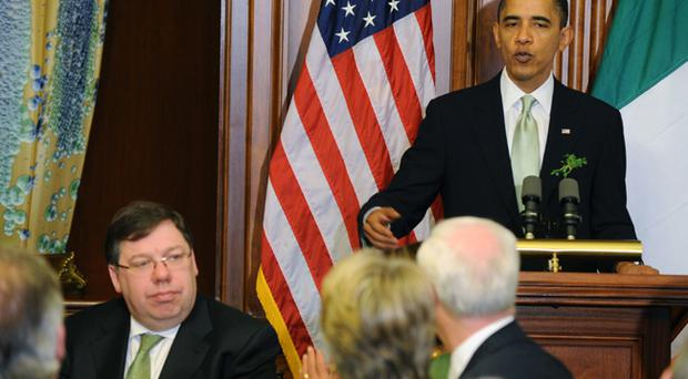 US President Barack Obama speaks during a Friends of Ireland Lunch at the US Capitol with the Taoiseach of Ireland Brian Cowen in attendance on March 17, 2010 in Washington, DC