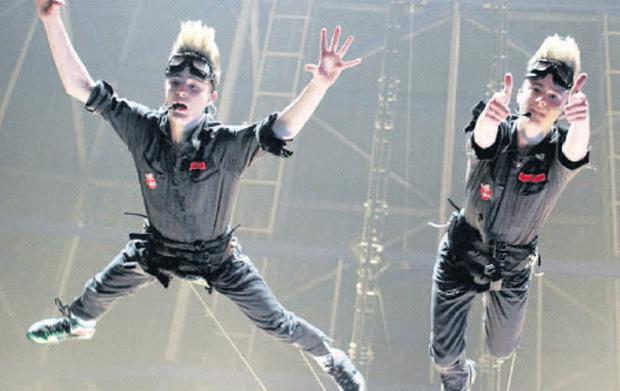 Jedward delight the crowd with the Ghostbusters routine