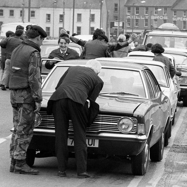 A stop-and-search operation on the Craigavon bridge, part of 'Operation Motorman' by the Army