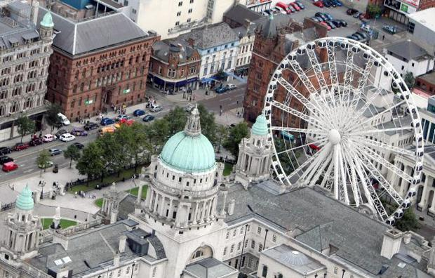 Aerial Photography from around the Greater Belfast and Belfast Lough area. Belfast City Hall and Big Wheel.