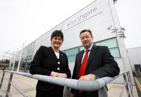 Enterprise Minister Arlene Foster with Andy Ross, chief executive of Northgate Managed Services, as the company announced 88 new jobs as part of its £19.4m investment