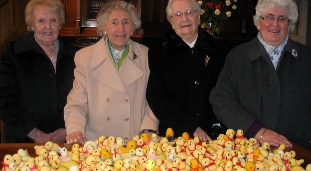 The ladies knitted ducks for children