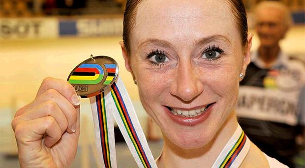 Wendy Houvenaghel shows off her silver medal from yesterday's World Championships 3000m individual pursuit event