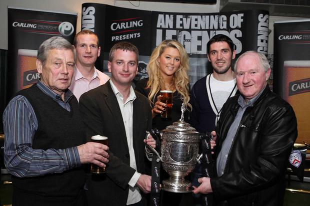 Coleraine FC legends Vincent Hunter, Dessie Dickson, Pat McAllister and current player Stephen Carson are pictured with BBC Sport's Joel Taggart and Carling's Nichola Sheridan at the 'Carling Presents an Evening of Coleraine Legends' event
