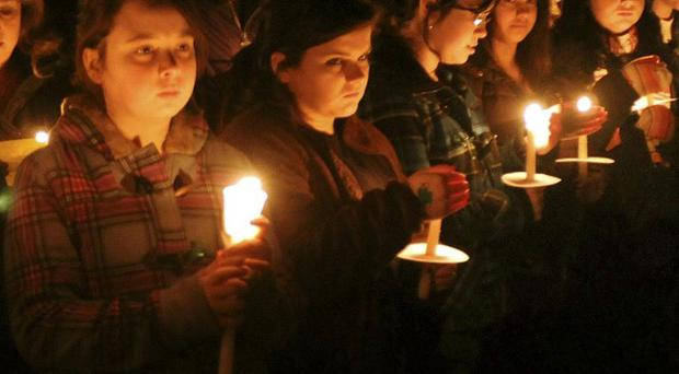 A candlelight vigil at a US school for Irish freshman Phoebe Prince (AP)