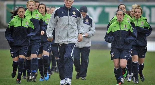 Nigel Worthington helped out the Northern Ireland ladies team with their training session ahead of their match with France at Windsor Park