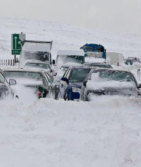 Cars abandoned on the Glenshane Pass this morning. 31.3.10