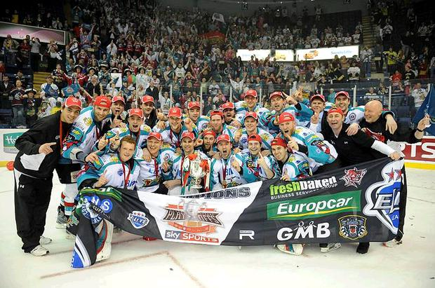 Belfast Giants celebrate after beating the Cardiff Devils to win the Elite League Play-Off Final in Nottingham