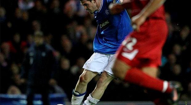 Kyle Lafferty scores Rangers second goal against Aberdeen at Ibrox