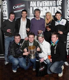 Portadown FC supporters are pictured with Brian Strain, Mickey Keenan and Carling's Nichola Sheridan at the 'Carling Presents an Evening of Portadown Legends' event