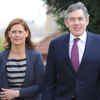 Gordon Brown and his wife Sarah on the campaign trail in Cowdenbeath
