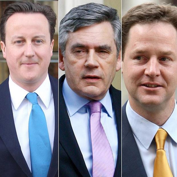 David Cameron (Conservatives), Gordon Brown (Labour) and Nick Clegg (Lid Dems)
