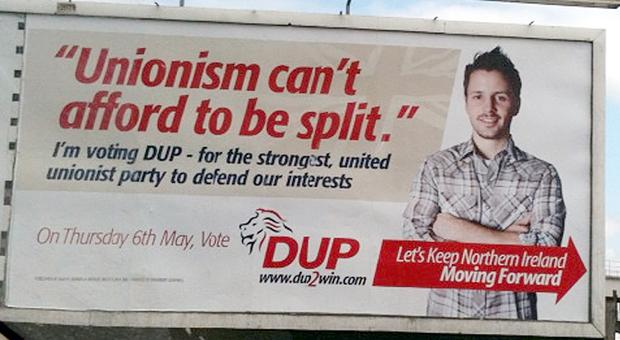The real thing? one of the DUP posters which uses American models from a supplier of stock photographs