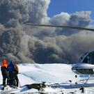 A film crew working for National Geographic set up on Iceland's Eyjafjallajokull glacier (AP)