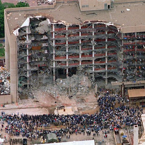 The scene of the 1995 bombing at the Alfred P Murrah Federal Building in Oklahoma City