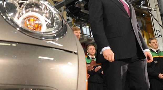 Prime Minister Gordon Brown visits the Mini Assembly plant at Cowley in Oxford