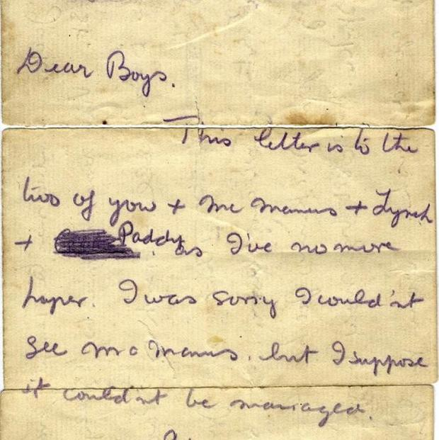A letter written by Kevin Barry in a cell in Mountjoy Prison in 1920 fetched 105,000 euro