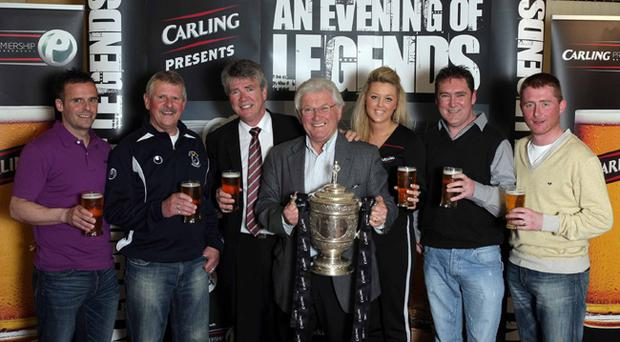 Dungannon Swifts legends Rodney and Joe McAree, Dixie Robinson and Darren Murphy joined BBC Sport's Jackie Fullerton, Carling's Nichola Sheridan and Terry Loughins at the 'Carling Presents an Evening of Dungannon Swifts Legends' event