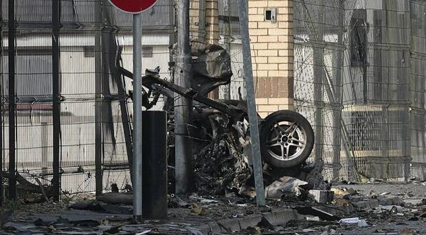 23rd April 201- The scene where two people have been injured in a car bomb explosion outside a police station in Newtownhamilton, County Armagh.