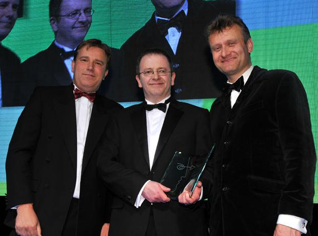Philip Walker, managing director of PCS (sponsor of the award), Jerome Crolly and TV and radio personality Hugh Dennis