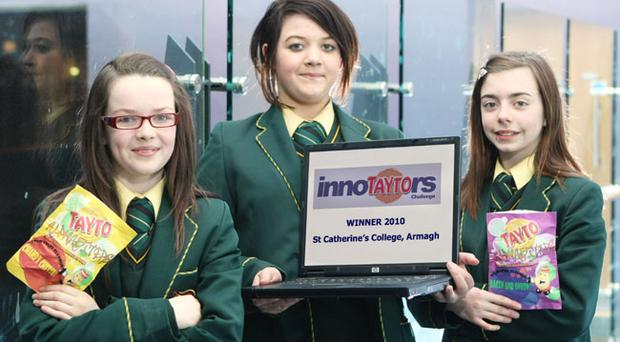 L-R Eleanor McQuaid, Cliodhna Quinn and Aifric Prunty from StCatherine's College, Armagh, with their winning idea 'Alphabiters'