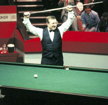 The moment of victory: Dennis Taylor clinching the 1985 world championship after one of the most nailbiting contests ever