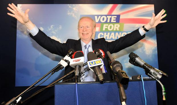 UUP leader Reg Empey at the UUP Manifesto launch at Mossley Mill