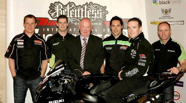 John McGuinness, Denver Robb, North West 200 race chief Mervyn Whyte MBE, Gary Mason, Alastair Seeley and Ian Lougher pictured at Parliament Buildings last night