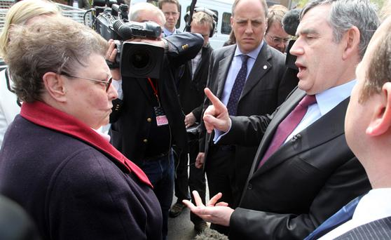 Prime Minister Gordon Brown speaks to local resident Gillian Duffy in Rochdale. Prime Minister Gordon Brown was caught on microphone today describing a voter he had just spoken to in Rochdale as a