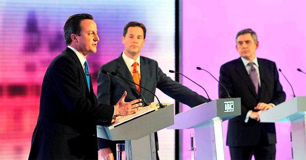 Conservative Party leader David Cameron (left) Liberal Democrat leader Nick Clegg (centre) and Prime Minister Gordon Brown, during the final live leaders' election debate, hosted by the BBC in the Great Hall of Birmingham University