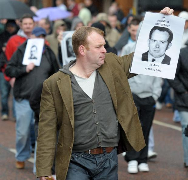 A Republican parade remembering the hunger strikers passes through Belfast in 2010.