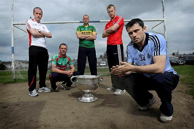 Tyrone's Stephen O'Neill (left) flew the flag for Ulster at the official launch of the 2010 GAA Football Championship. He was joined by Mayo's Trevor Mortimer, Kerry's Micheal Quirke, Cork's Michael Shields and Dublin's Alan Brogan