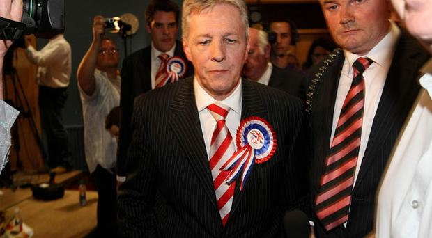First Minister and DUP Leader Peter Robinson after conceding defeat to Naomi Long of the Alliance Party in the East Belfast constituency