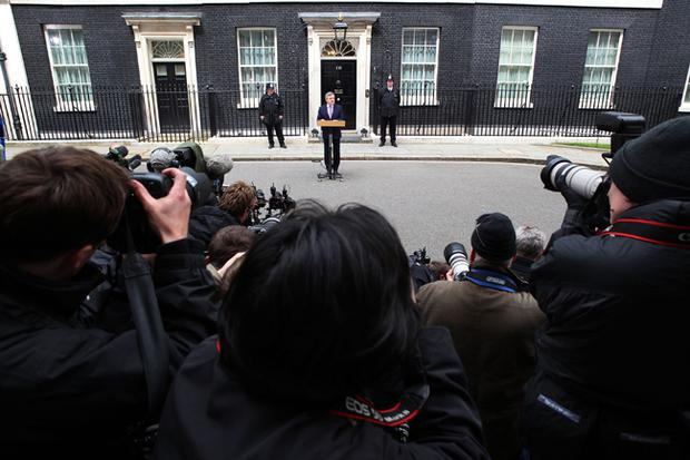 Prime Minister Gordon Brown makes a statement to the media outside 10 Downing Street following yesterday's general election