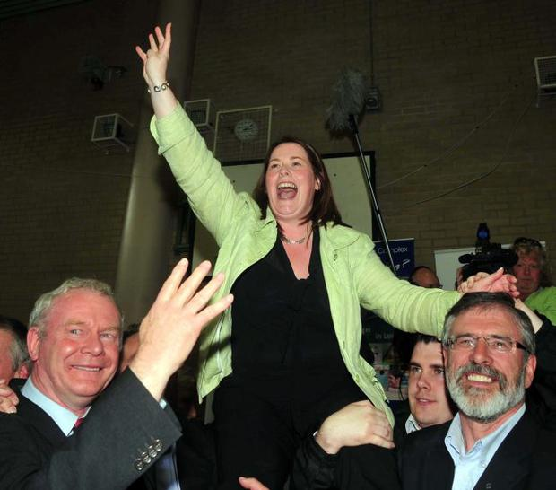Sinn Fein's Michelle Gildernew celebrates after winning the seat for Fermanagh South Tyrone at westminster election by four votes. May 2010