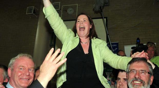 Pacemaker Press 7/5/10 Sinn Fein's Michelle Gildernew celebratesafter winning the seat for Fermanagh South Tyrone at westminster election by four votes Pic Colm Lenaghan/Pacemaker