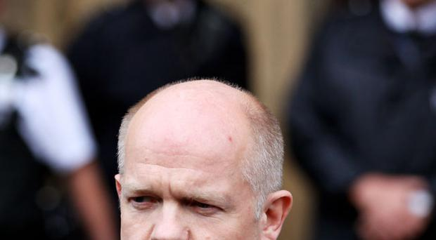 William Hague, the Conservative Shadow Foreign Secretary, addresses media outside the Houses of Parliament on May 10, 2010
