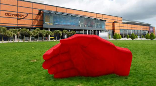 Red Hand for Ulster sculpture proposal forthe Odyssey grounds, Belfast.