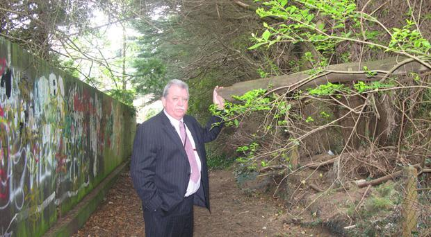SDLP Councillor Pat McCarthy highlights some of the problems rate payers still face in and around the Hillside estate, Stranmillis, despite the hike in rates
