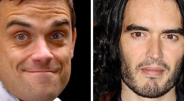 Robbie Williams and Russell Brand feature on football anthem 3 Lions