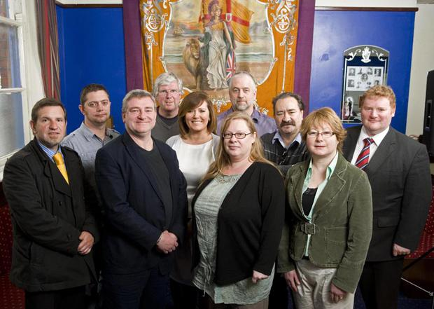 Representatives of the many community groups who took part in the programme at Ballynafeigh Orange Hall