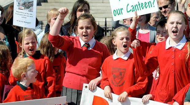 Whitehouse PS pupils protesting outside Stormont