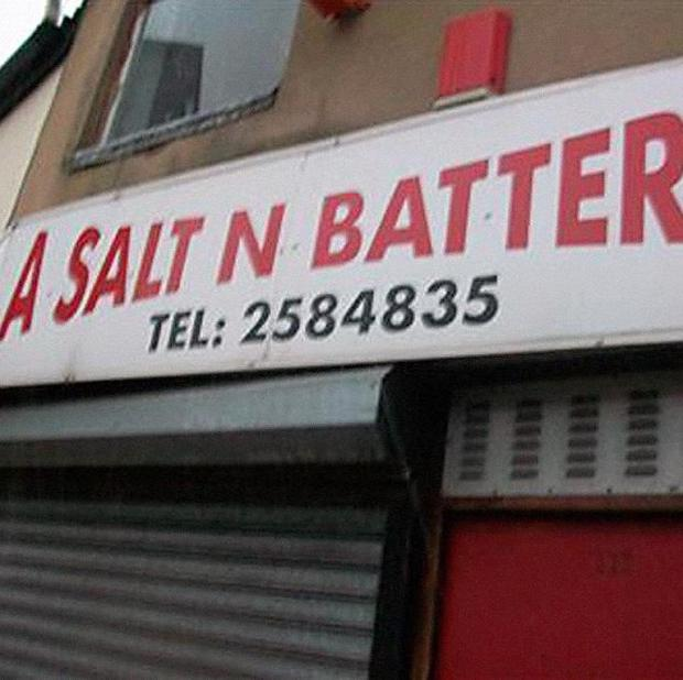 A chippy called A Salt And Battered in Sheffield is among unusual business names