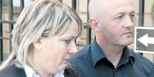 A distraught Gerald and Dreena Harron after the inquest in Londonderry