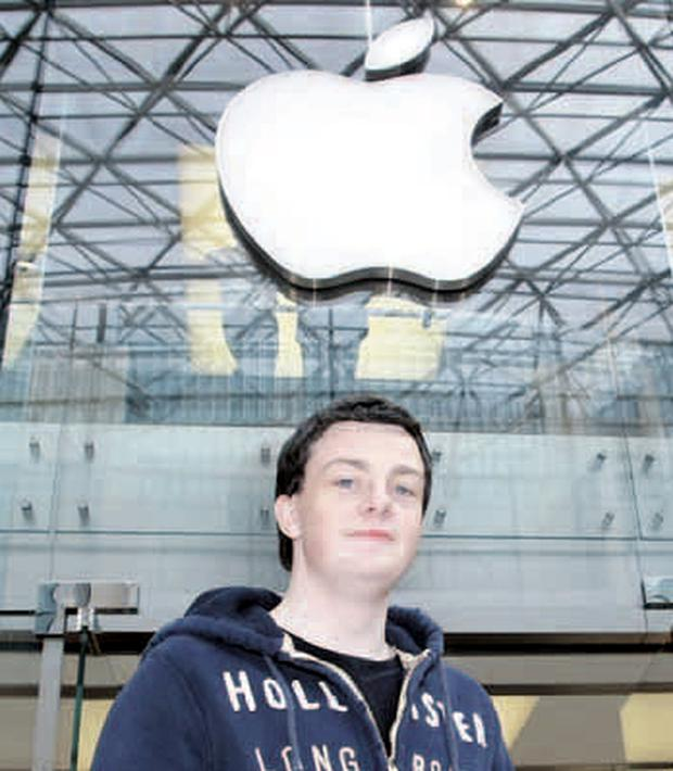 Worth the wait: Steven outside the Apple store last night