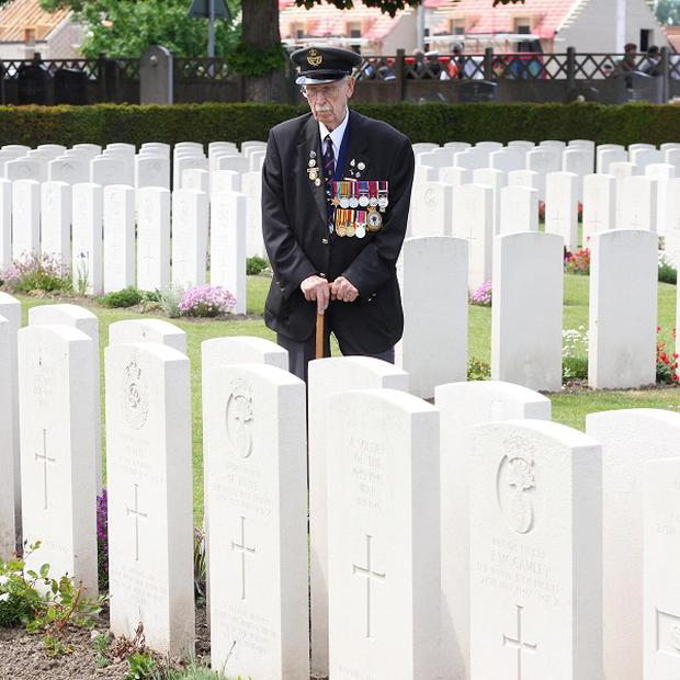 British and French veterans gathered at a cemetery in Dunkirk for a moving ceremony to remember those who were lost during the Second World War evacuations. Pictured is a previous service